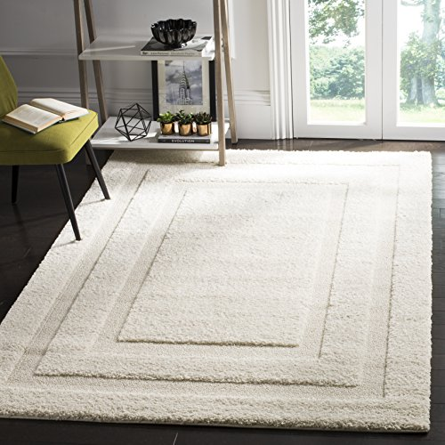 Safavieh Shadow Box Shag Collection SG454-1111 Area Rug, 8-Feet 6-Inch by 12-Feet, Crème and Crème (Rug Creme)