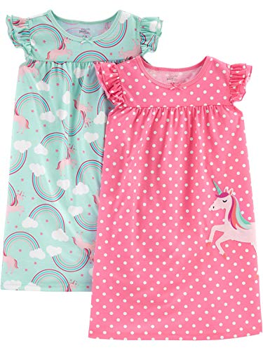 Simple Joys by Carter's Girls' Little Kid 2-Pack Nightgowns, Unicorn/Rainbow, 6-7 -