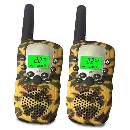 Walkie Talkies Kids - Vox Box Voice Activated Walkie Talkies Adults Kids 3+ Mile Two Way Radio Walkie Talkies Long Range Set ( Camo Yellow)