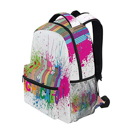 KVMV Splash of Colorful Paint Background with Text Chicago and Cityscape Lightweight School Backpack Students College Bag Travel Hiking Camping Bags