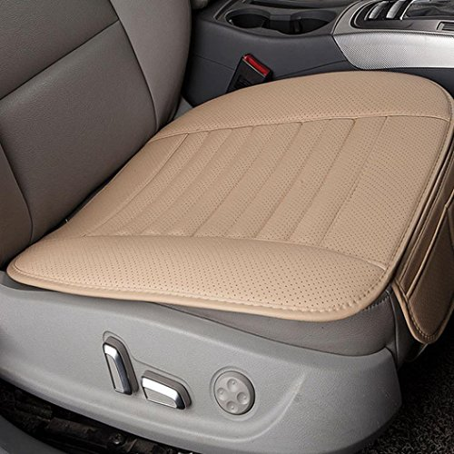 Transer Car Seat Cushion, Breathable PU Leather Bamboo Charcoal Car Seat Cover Pad Mat Protector Auto Chair Cushion (Beige)