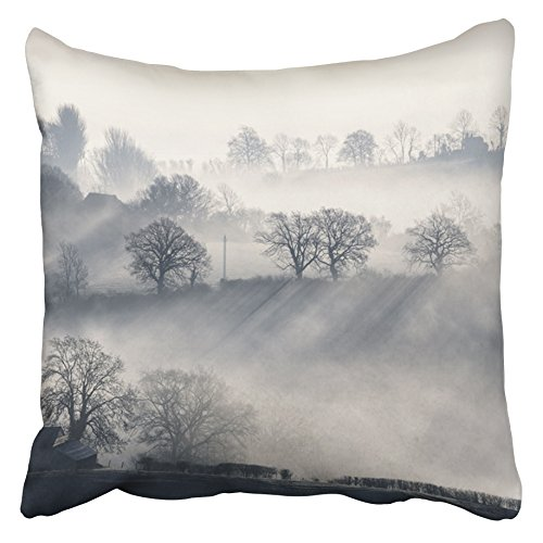 Emvency Decorative Throw Pillow Covers Cases Dean British Farmland Valley Scene at Daybreak Mist Light Rays Forest Atmosphere Beams 16x16 inches Pillowcases Case Cover Cushion Two Sided -