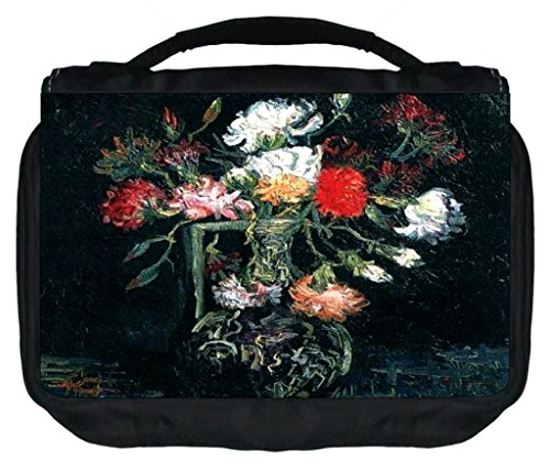 Artist Vincent Van Gogh's Vase with Red and White Carnation Painting-Print Design TM Small Travel Sized Hanging Cosmetic/Toiletry Case with 3 Compartments and Detachable Hanger-Made in the U.S.A.