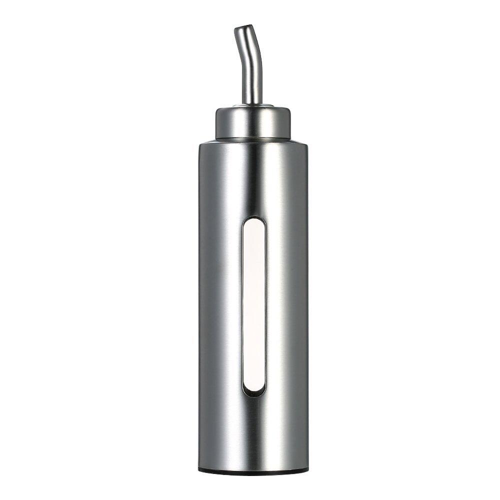 Stainless Steel Oil Bottle, Decdeal 200ml/7oz Oil and Vinegar Dispenser Stainless Steel Olive Oil Sauce Pourer Dispensing Bottle Leak-proof Container for Kitchen
