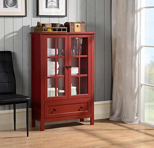 Homestar with 2-Door/ 1-Drawer Glass Cabinet, 47.24 x 31.50 x 11.77-Inch, Red -