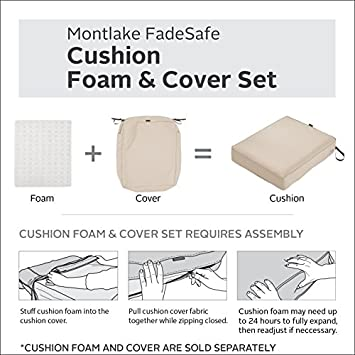 Classic Accessories Montlake Bench Cushion Foam Slip Cover, Antique Beige, 42x18x3 Thick with Montlake Cushion