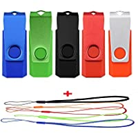 JUANW 5PCS 32GB USB 2.0 Flash Drive With Lanyards Swivel Thumb Drive (5 Colors Mixed: Black Blue Green Orange Red)