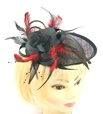 Black and red striking hatinator  fascinator hat on a slanted band for  weddings a57f78e2f1c