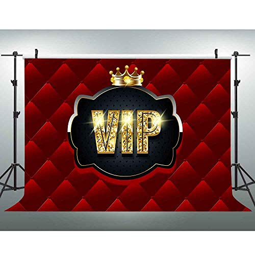 Gold VIP Backdrop for Photography Crown Red Tufted
