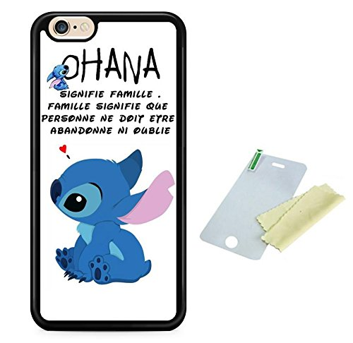 Coque silicone BUMPER souple IPHONE 4/4s -Lilo stitch ohana signifie famille motif 1 DESIGN case+ Film de protection OFFERT