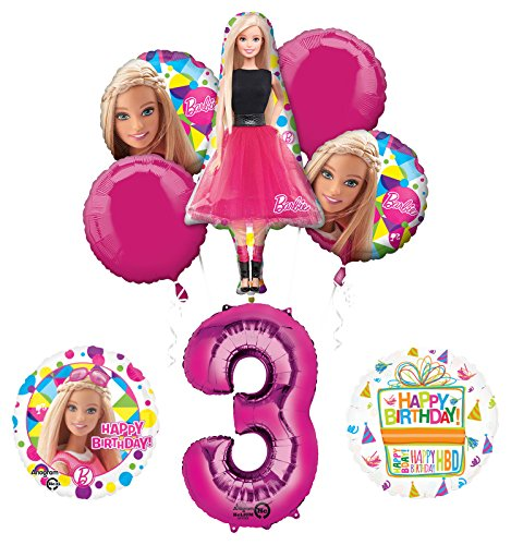 Barbie 3rd Birthday Party Supplies and Balloon Bouquet -