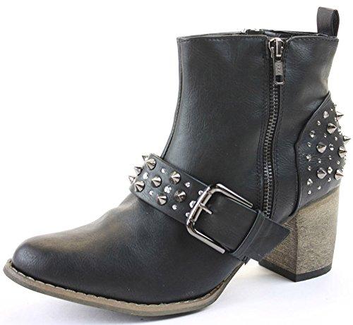 F1940A Womens Black Spike Spiked Studded Stud Western Heeled Boots Size Uk 5 pFVrfbN1NN
