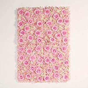 BalsaCircle 4 Pink Silk Roses and Hydrangea Flower Mat Wall Backdrop Photography Panel – Wedding Party Vertical Garden Wall Hedge Supplies