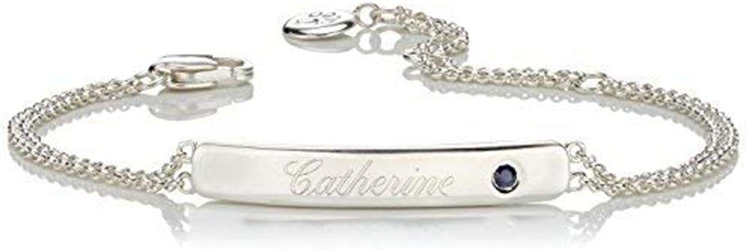 Personalized 925 Sterling Silver Girls October Opal Birthstone Identity Bracelet Molly B London