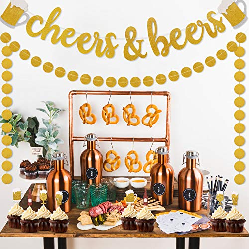 Cheers & Beers Banner Decorations, Gold Glitter Dots Garland for Birthday Wedding Anniversary Graduation Bachelorette Bridal Shower Engagement, Beer Mug Stein Party Supplies Pre Strung & Ready To Hang]()