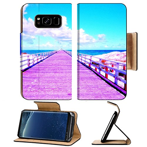Liili Premium Samsung Galaxy S8 Plus Flip Pu Leather Wallet Case IMAGE ID: 20942099 High Dynamic Range HDR photography of the Grange Jetty pier looking out across the ocean sea - Jetty For Sale