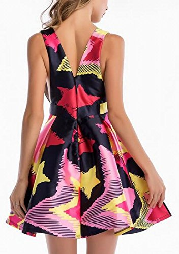 Dresses Printed Midi Sleeveless Jaycargogo Tank Line A 1 Floral Womens Party zqaOqw