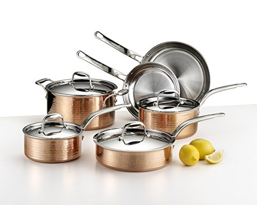 Copper Tri Ply - Lagostina Martellata Hammered Copper 18/10  Tri-Ply Stainless Steel Cookware Set, 10-Piece, Copper