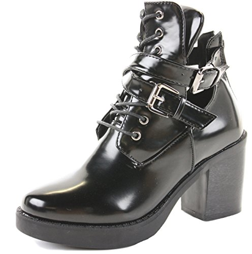 Ladies Womens Chunky Cleated Sole Block Heel Platform Chelsea Ankle Boots Size Style 3 -Black