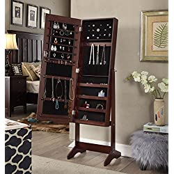 Espresso Finish Jewelry Cabinet Freestanding Floor Mirror Stand Makeup Armoire Organizer - Rings, Necklaces, Bracelets