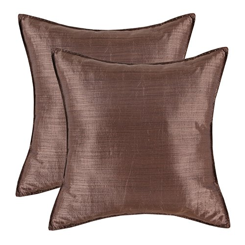 Pack of 2, CaliTime Silky Throw Pillow Covers Cases for Couch Sofa Bed, Modern Light Weight Dyed Striped, 26 X 26 Inches, Coffee - European Square Pillow Shams