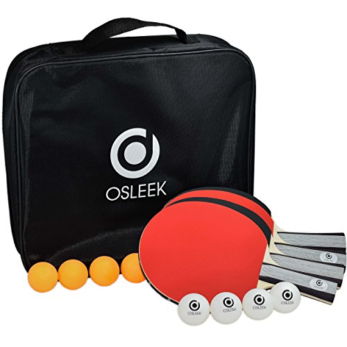 Osleek Ping Pong Paddle Set - 4 Rackets 8 Balls Professional/Recreational Table Tennis Bundle | Durable 5 Layer Blade, Performance Rubber for Control, Spin & Speed | Packed in Protective Travel Case by Osleek (Image #2)
