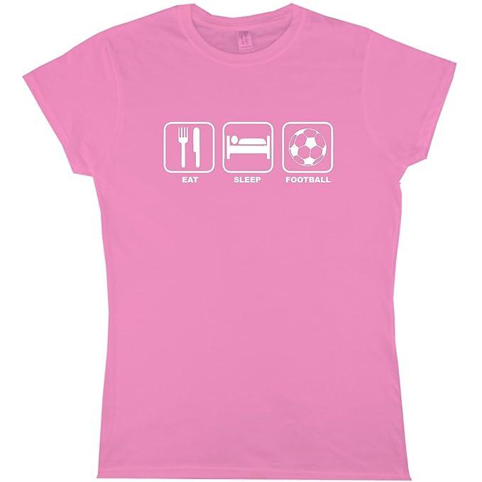 Eat Sleep fútbol camiseta para mujer Funny Humor Ladies Girls cumpleaños Rosa rosa Small