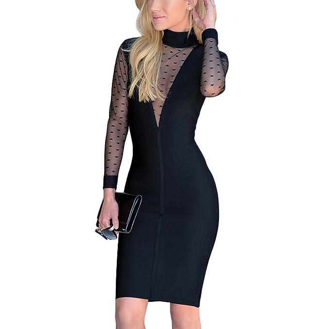 HLBandage Long Sleeve V Neck Mesh Mini Rayon Bandage Dress: Amazon.es: Ropa y accesorios