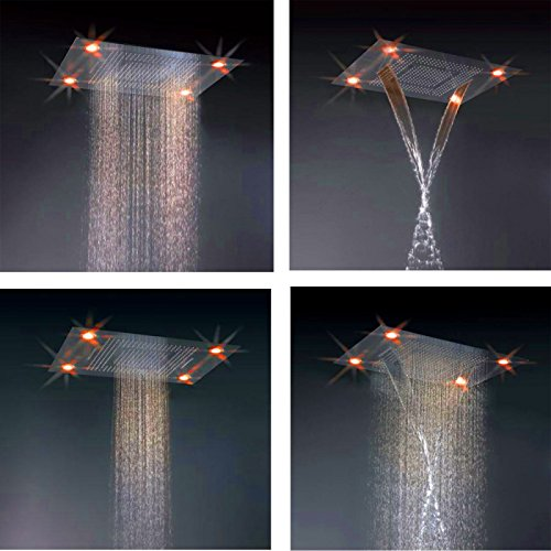 rain shower head with lights. Cascada Classic Design 31 Inch  600mmx800mm Large Rain Shower Set With Waterfall LED
