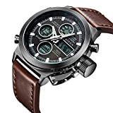 Watch, Watch Men Digital Analog Sport Waterproof Watch,Multifunction LED Date Alarm Brown Leather Wrist Watch