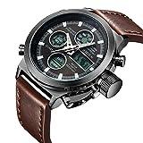 Watch, Watch Men Digital Analog Sport Waterproof Watch,Multifunction LED Date Alarm Brown Leather Wrist Watch