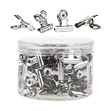 Bulldog Clips - 150-Pack Hinge Clips, Stainless Steel Binder Clips for Documents, Files, Pictures, Home Office Supplies, Silver, 0.9 x 0.9 inches