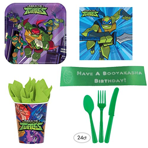 Rise of the Teenage Mutant Ninja Turtle Party Supplies With Plates, Napkins, Cups, Cutlery, and Bonus Printed Ribbon
