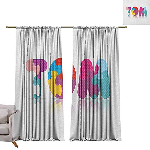 - berrly Thermal Insulating Blackout Curtain Tom,Children Newborn Themed Colorful Boy Name Design Abstract Educational Puzzle Pattern, Multicolor W84 x L108 Waterproof Window Curtain