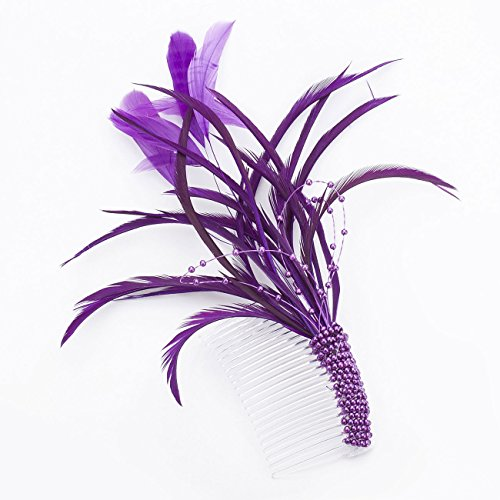 Janeo Hair Comb Headwear Rose Marie Fascinator; Flirtatious Bouquet Feathers arrangement, Beaded Comb Arm Design, Budget Price. Colours: Black, Off White, Gold and Vivid Purple.
