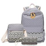 Vezela® Set of 3 Casual Lightweight Canvas Laptop Bag - Grey Color Laptop Bag in Backpack for School / Collage