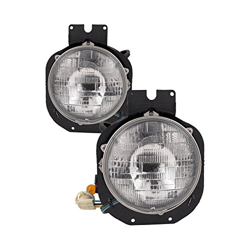 Headlights Depot Replacement for FRONT HEADLIGHT Freightliner Century S HL ASY DIAMOND DESIGN OUTER SET
