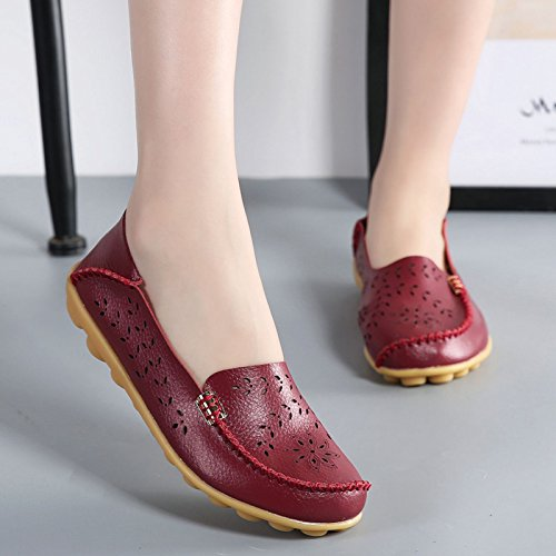 Burgundy Flat Wine Natural VenusCelia Walking Women's Loafer Breathable WqOxwqY8TA