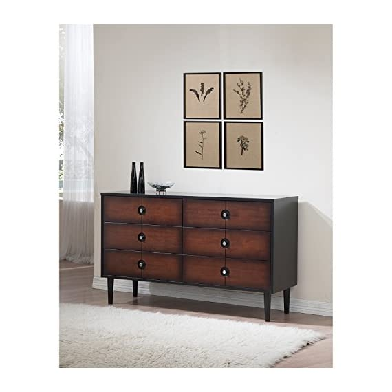 Mid Century Wood 6 Drawer Dresser in Cherry Brown Finish with Black Highlights and Sides - Includes Modhaus Living Pen - This cherry dresser features black highlights and sides, adding visual contrast to the elegant wood. This strikingly modern wood dresser brings elegant sophistication to your master bedroom or guest room. Materials: Rubberwood. Full extension roller ball bearing drawer glides offer smooth drawer function. - dressers-bedroom-furniture, bedroom-furniture, bedroom - 51vBZY5A9mL. SS570  -