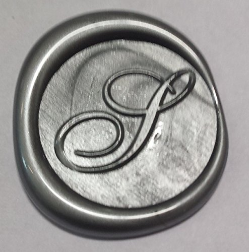 100 pack of Wax Seals: Self adhesive wax seal sticker - S - Shelley Allegro Font - Metallic Silver - 3/4