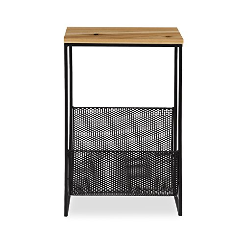 Kate and Laurel Galen Accent Side Table and Magazine Rack with Natural Wood Top and Black Metal Base