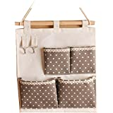 Niubai Cotton/Linen Fabric Wall Hanging Organizer 4-Pockets Hanging Storage Bag with Hooks