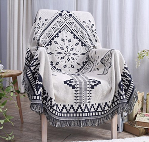 Sided Use Sofa Chair Tapestry Couch Throw with Decorative Tassels, 51X71 Inch Couch