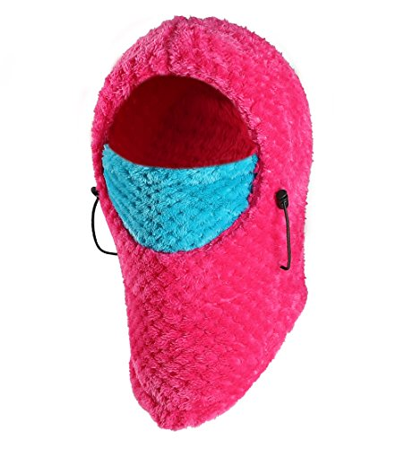 Zerdocean Kids Winter Thick Thermal Flannel Cycling Ski Windproof Balaclava Hood Rose Red & Sky Blue, Rose Red & Sky Blue, One Size