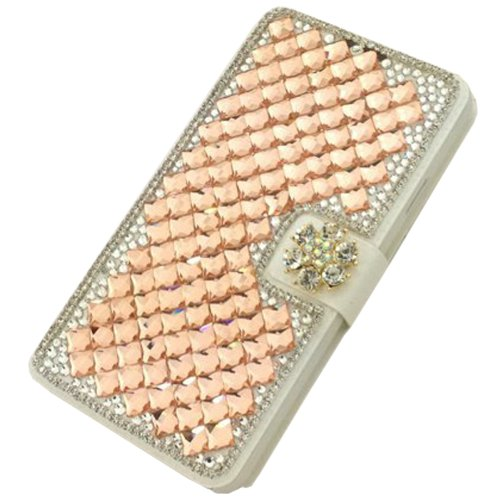"""3D Diamonds Rhinestone Bling Silk Pattern Leather Cover Flip Wallet Case for Samsung Galaxy Win i8552 Champagne(Package includes: 1 X Screen Protector and Stylus Pen image""""Gift_Source"""")"""
