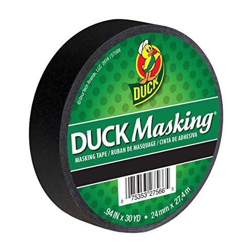 (Duck 240877 Color Masking Tape, 0.94-Inch by 30-Yard (Single Roll), Black)