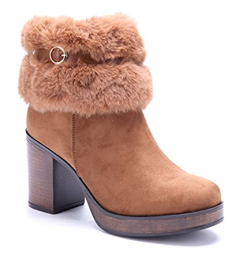 6cf7e5ee2bd8dd Schuhtempel24 Damen Schuhe Klassische Stiefeletten Stiefel Boots  Blockabsatz Schnalle 9 cm Camel
