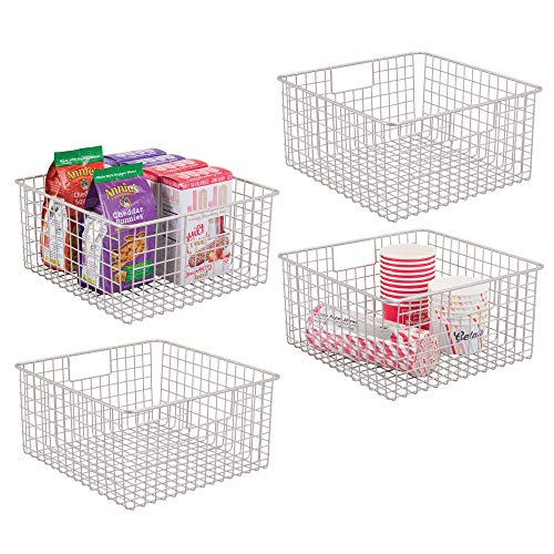mDesign Household Wire Storage Organizer Bin Basket with Built-In Handles for Kitchen Cabinets, Pantry, Closets, Bedrooms, Bathrooms - 12 x 12 x 6, Pack of 4, Satin