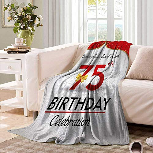 75th Birthdayblanket Throw blanketRoyal Birthday Party Floral Invitation Ceremony Please Join Usoutdoor Blanket 50