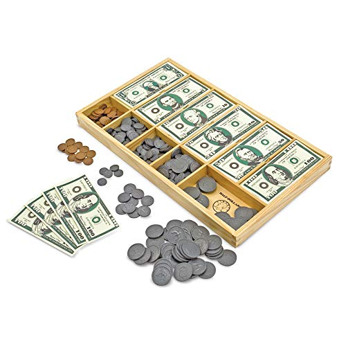 - Melissa & Doug Play Money Set - Educational Toy With Paper Bills and Plastic Coins (50 of each denomination) and Wooden Cash Drawer for Storage
